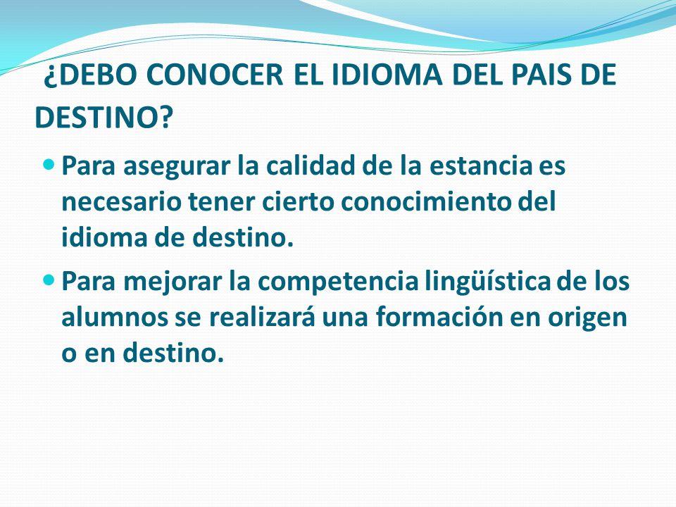 ¿DEBO CONOCER EL IDIOMA DEL PAIS DE DESTINO