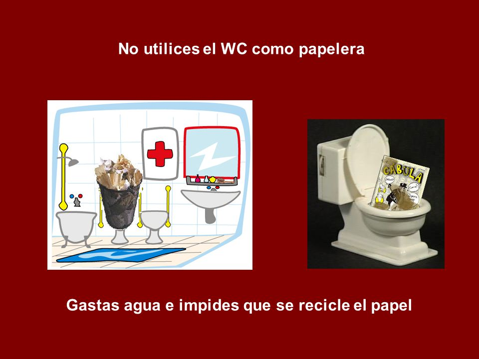 No utilices el WC como papelera