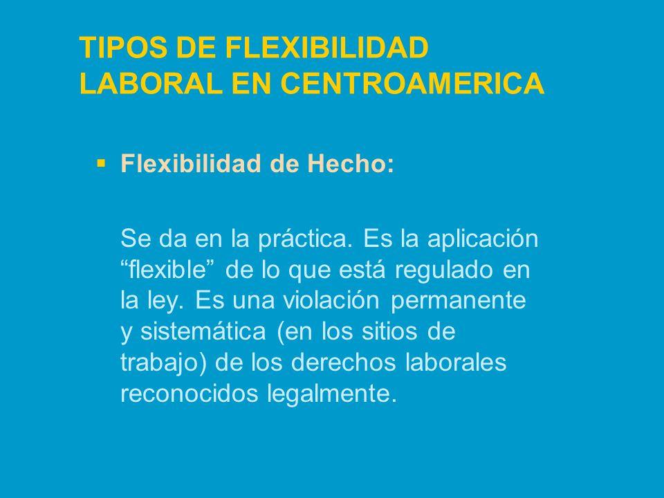 TIPOS DE FLEXIBILIDAD LABORAL EN CENTROAMERICA