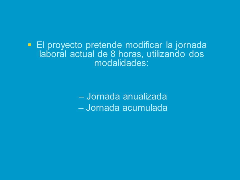 El proyecto pretende modificar la jornada laboral actual de 8 horas, utilizando dos modalidades:
