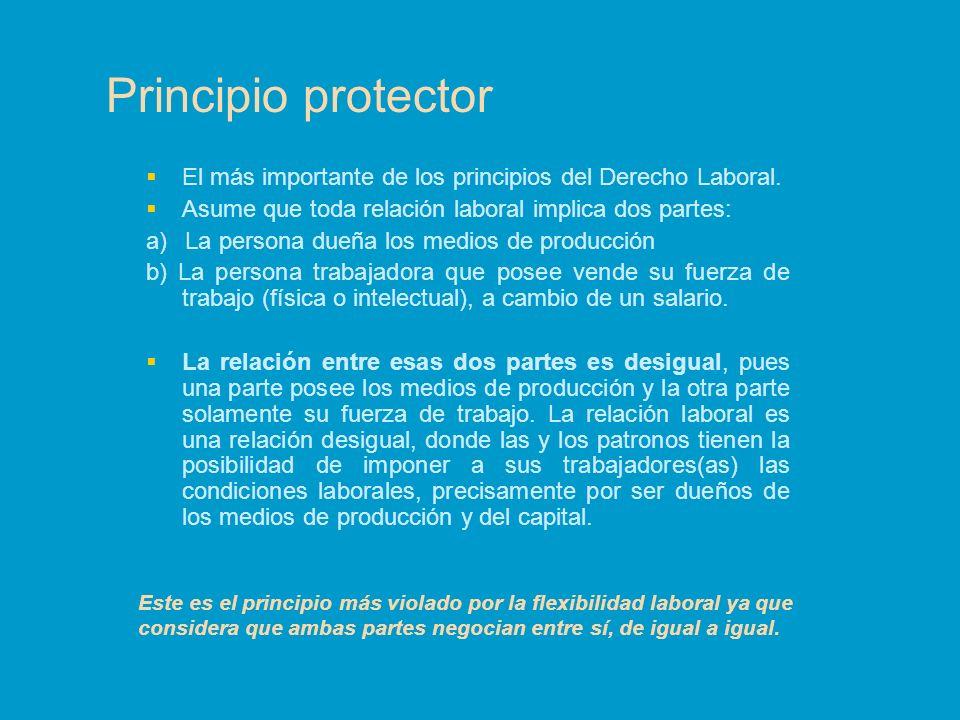 Principio protector El más importante de los principios del Derecho Laboral. Asume que toda relación laboral implica dos partes: