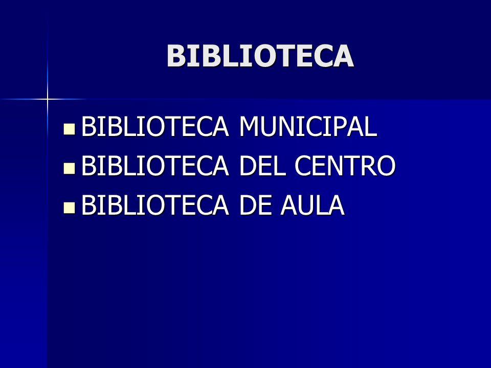 BIBLIOTECA BIBLIOTECA MUNICIPAL BIBLIOTECA DEL CENTRO