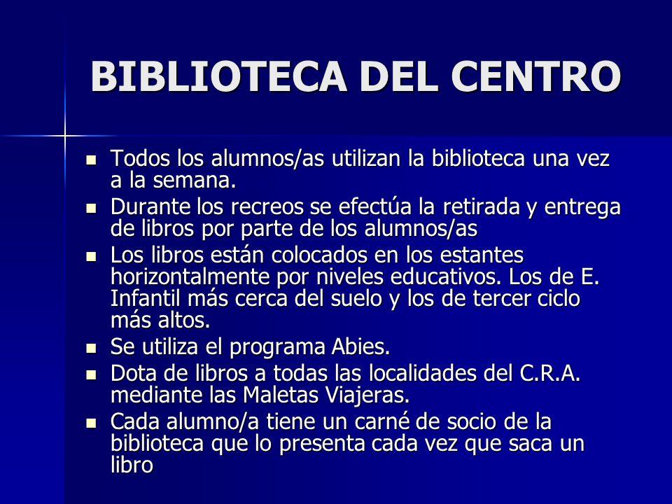 BIBLIOTECA DEL CENTRO Todos los alumnos/as utilizan la biblioteca una vez a la semana.