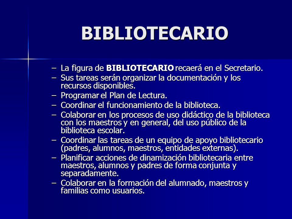 BIBLIOTECARIO La figura de BIBLIOTECARIO recaerá en el Secretario.