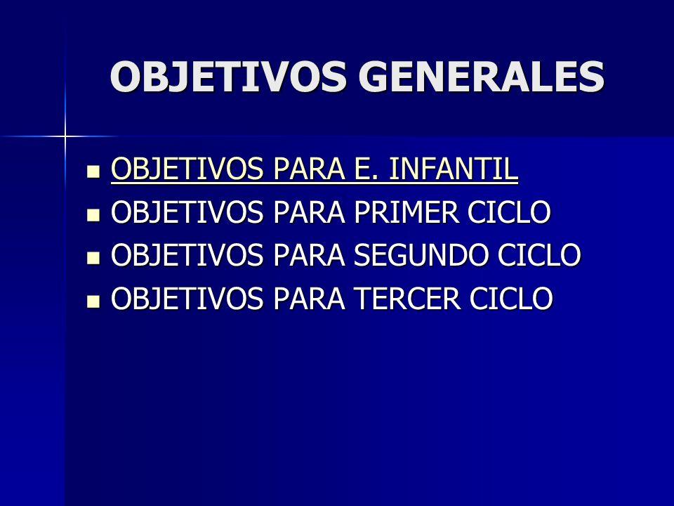 OBJETIVOS GENERALES OBJETIVOS PARA E. INFANTIL