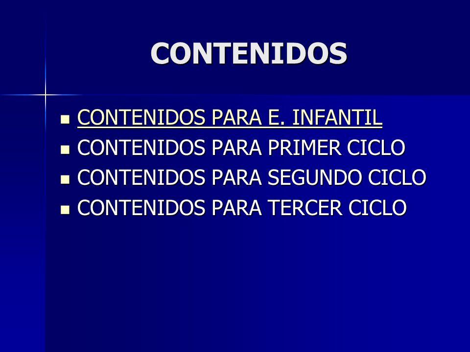 CONTENIDOS CONTENIDOS PARA E. INFANTIL CONTENIDOS PARA PRIMER CICLO