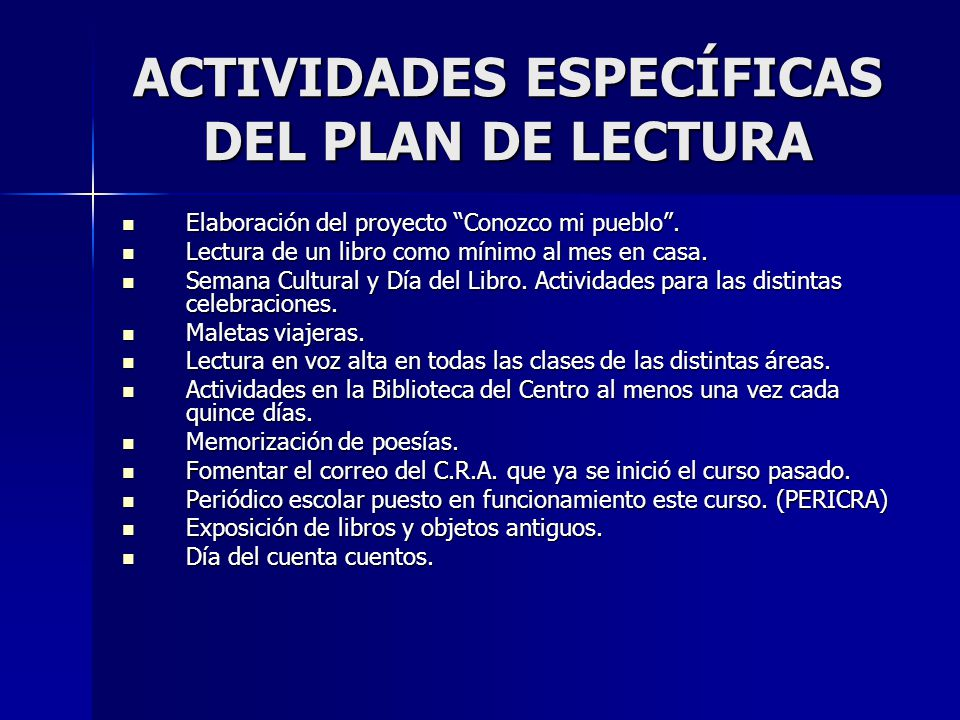 ACTIVIDADES ESPECÍFICAS DEL PLAN DE LECTURA