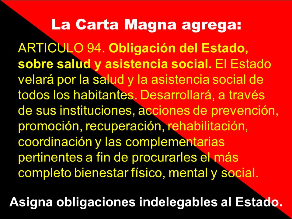 Asigna obligaciones indelegables al Estado.