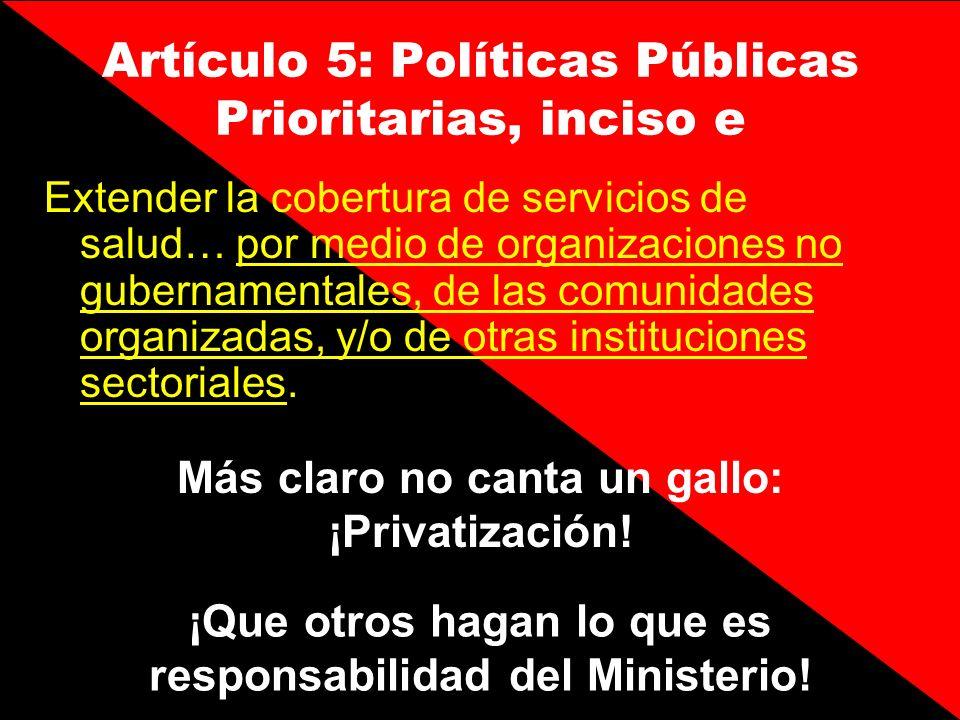 Artículo 5: Políticas Públicas Prioritarias, inciso e