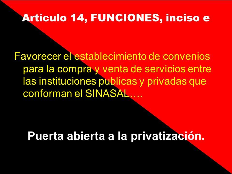 Artículo 14, FUNCIONES, inciso e