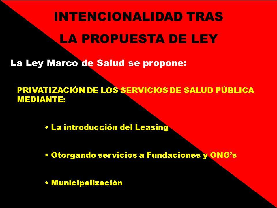 INTENCIONALIDAD TRAS LA PROPUESTA DE LEY