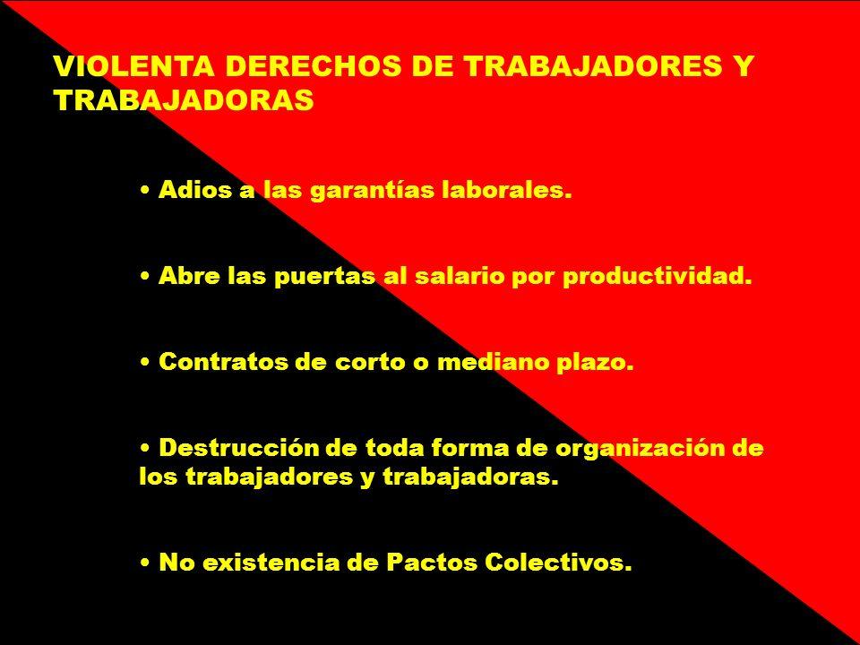 VIOLENTA DERECHOS DE TRABAJADORES Y TRABAJADORAS
