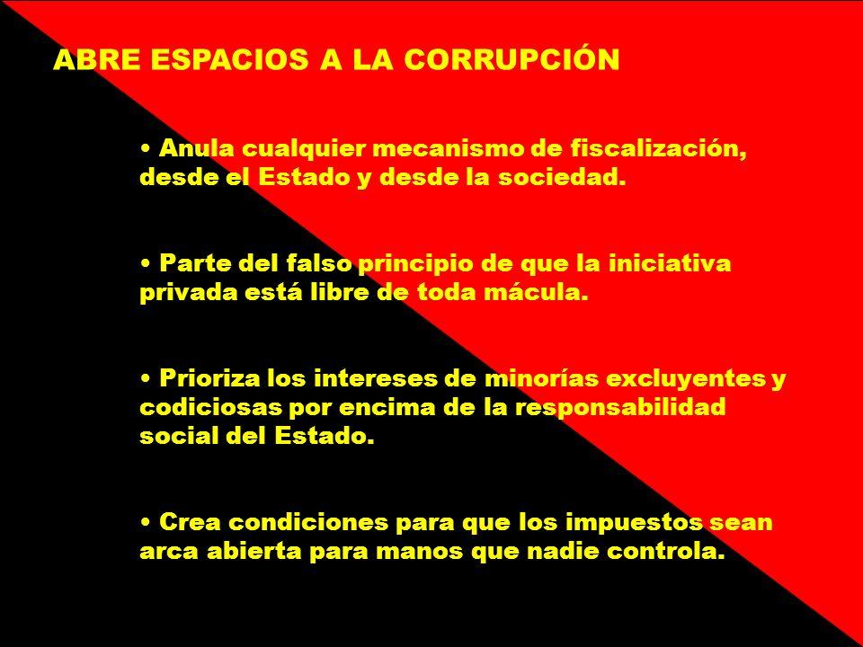 ABRE ESPACIOS A LA CORRUPCIÓN