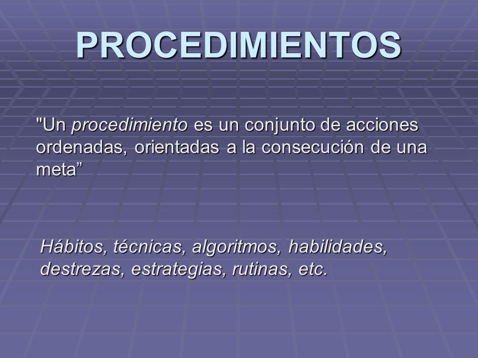 PROCEDIMIENTOS Un procedimiento es un conjunto de acciones ordenadas, orientadas a la consecución de una meta