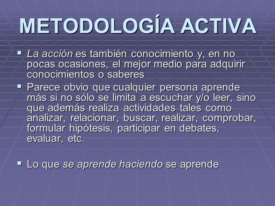 METODOLOGÍA ACTIVA La acción es también conocimiento y, en no pocas ocasiones, el mejor medio para adquirir conocimientos o saberes.