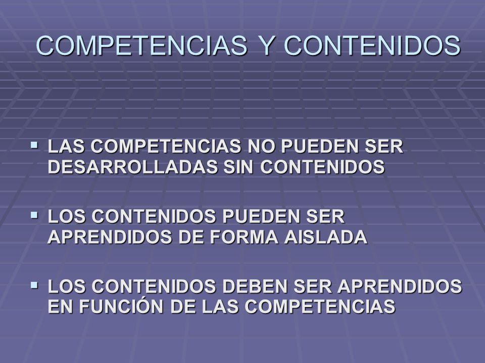 COMPETENCIAS Y CONTENIDOS