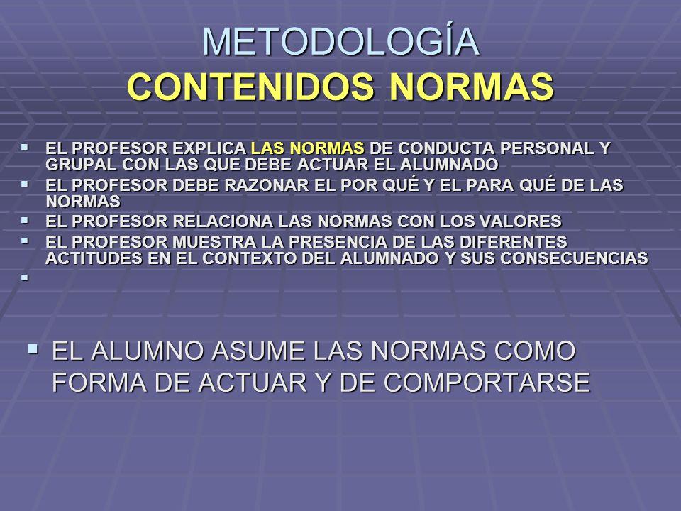 METODOLOGÍA CONTENIDOS NORMAS