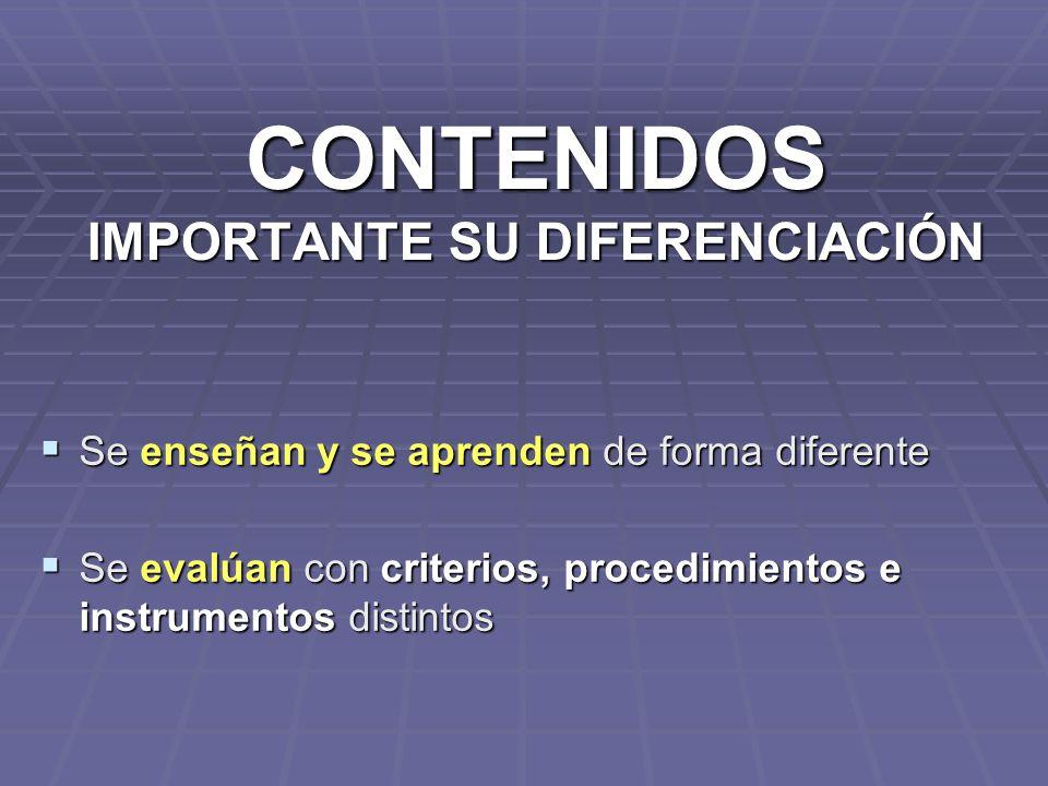 CONTENIDOS IMPORTANTE SU DIFERENCIACIÓN