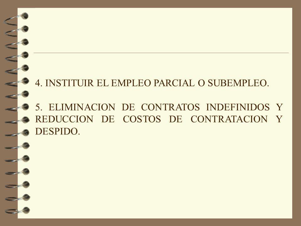 4. INSTITUIR EL EMPLEO PARCIAL O SUBEMPLEO.