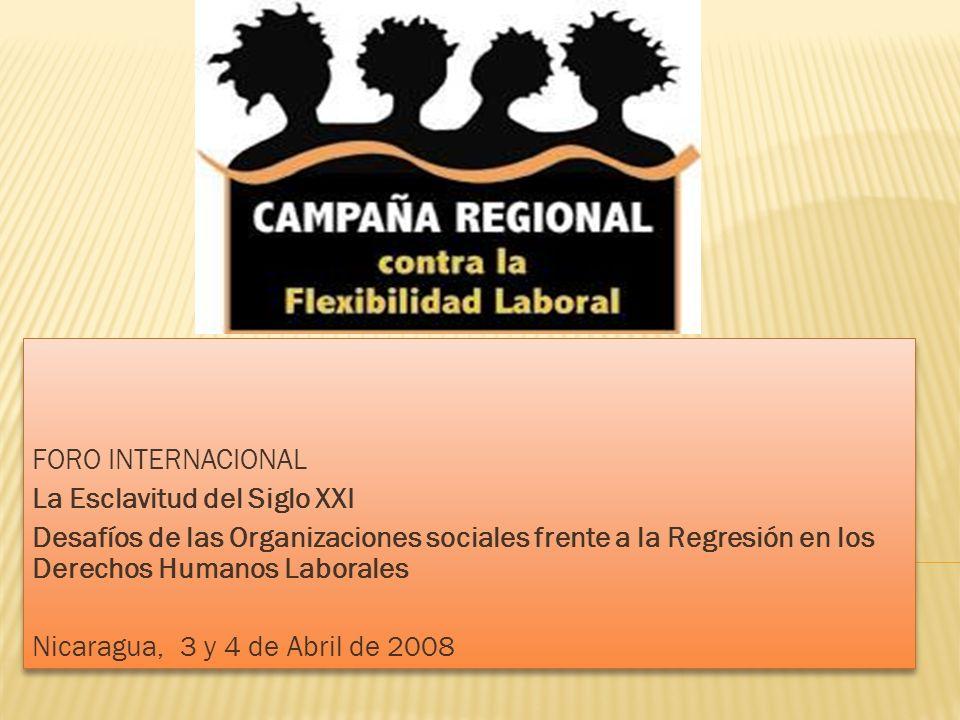 Foro Internacional La Esclavitud del Siglo XXI. Desafíos de las Organizaciones sociales frente a la Regresión en los Derechos Humanos Laborales.