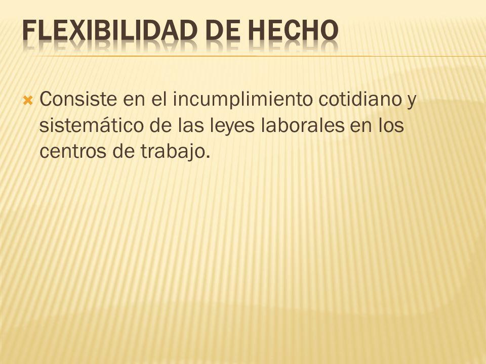 FLEXIBILIDAD DE HECHO Consiste en el incumplimiento cotidiano y sistemático de las leyes laborales en los centros de trabajo.