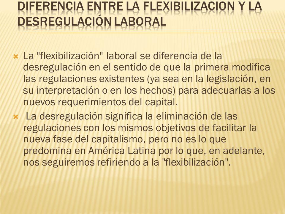 DIFERENCIA ENTRE LA FLEXIBILIZACION Y LA DESREGULACIÓN LABORAL