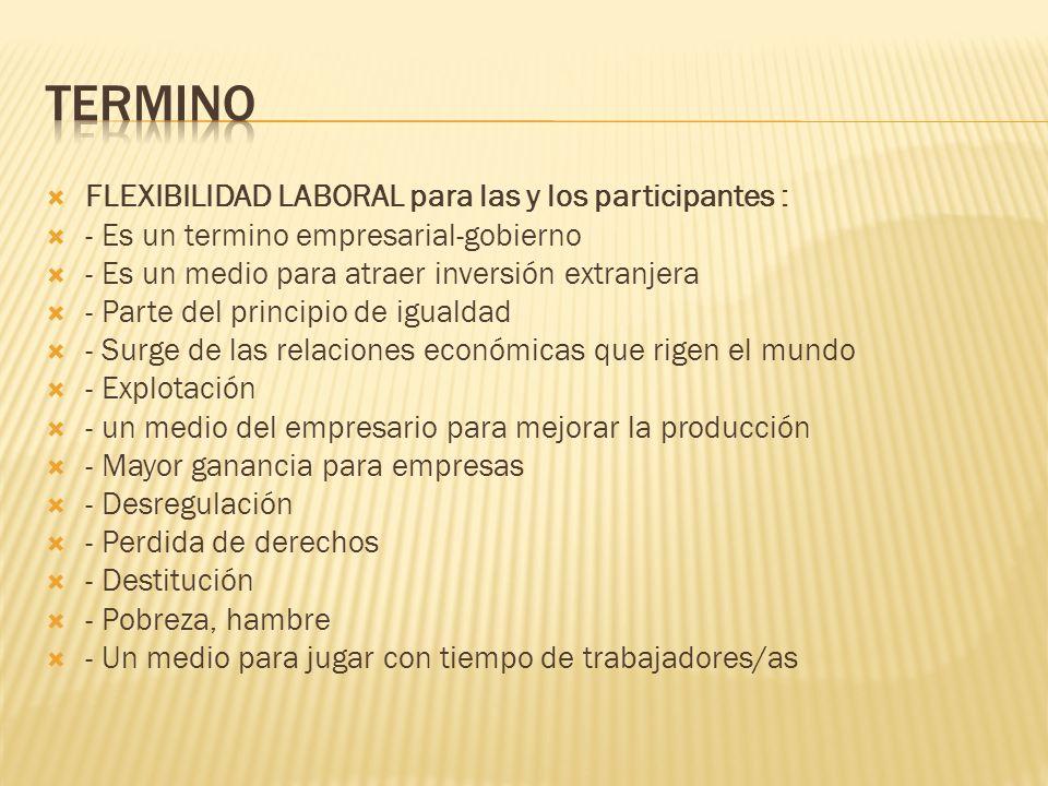 TERMINO FLEXIBILIDAD LABORAL para las y los participantes :