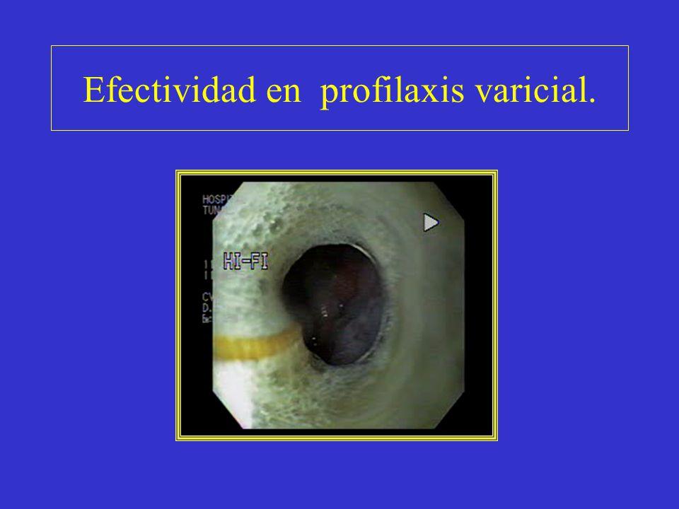Efectividad en profilaxis varicial.