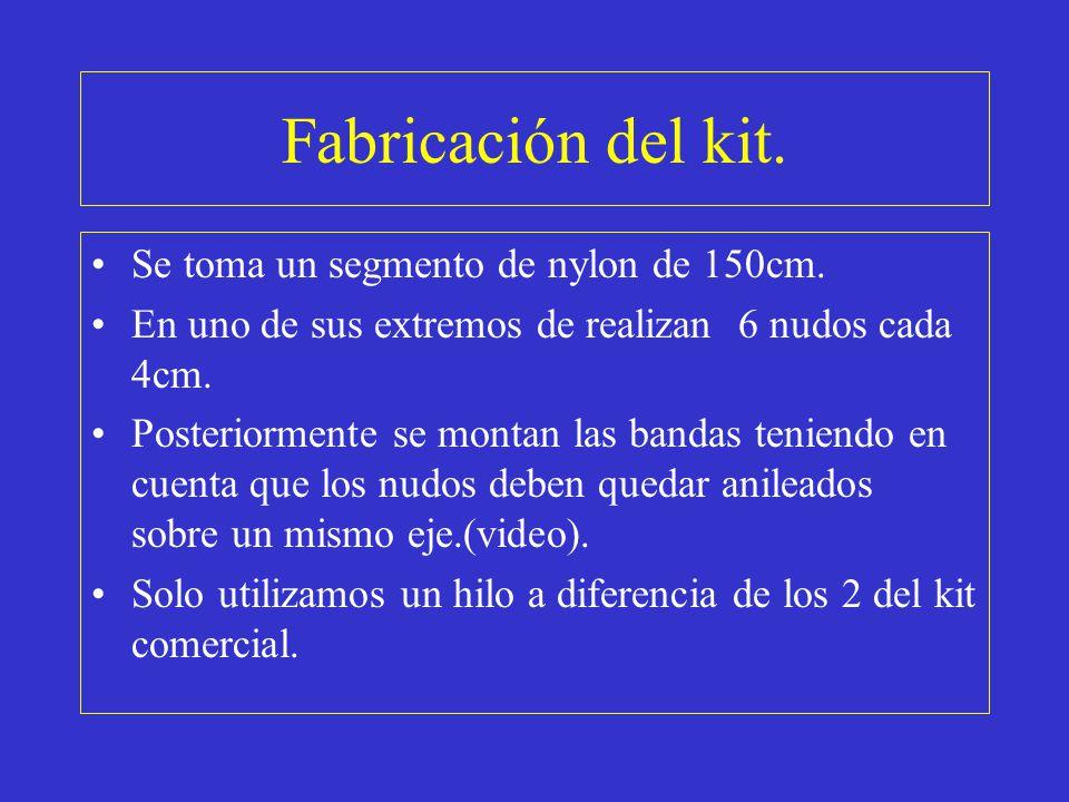Fabricación del kit. Se toma un segmento de nylon de 150cm.