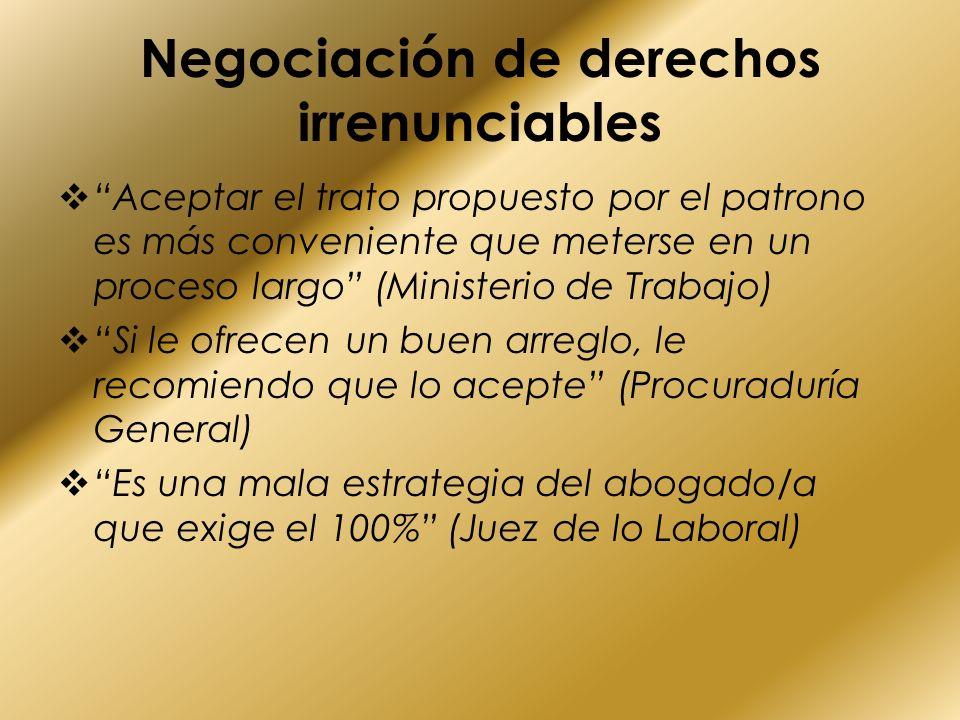 Negociación de derechos irrenunciables