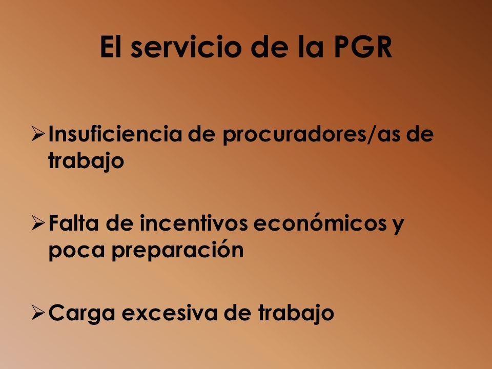 El servicio de la PGR Insuficiencia de procuradores/as de trabajo