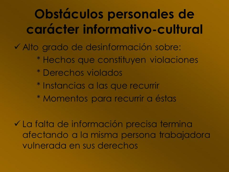 Obstáculos personales de carácter informativo-cultural