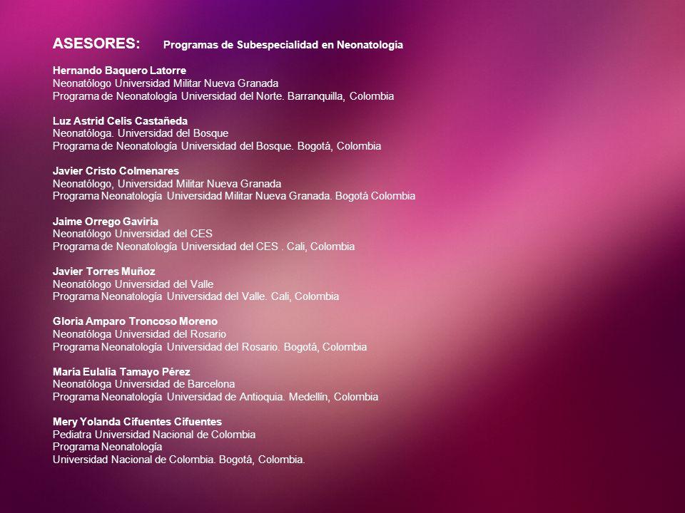 ASESORES: Programas de Subespecialidad en Neonatología