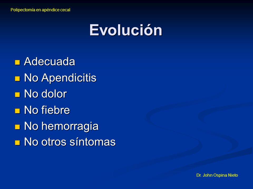 Evolución Adecuada No Apendicitis No dolor No fiebre No hemorragia