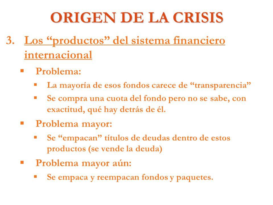 ORIGEN DE LA CRISIS Los productos del sistema financiero internacional. Problema: La mayoría de esos fondos carece de transparencia
