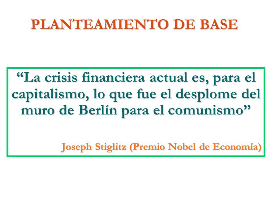 PLANTEAMIENTO DE BASE La crisis financiera actual es, para el capitalismo, lo que fue el desplome del muro de Berlín para el comunismo