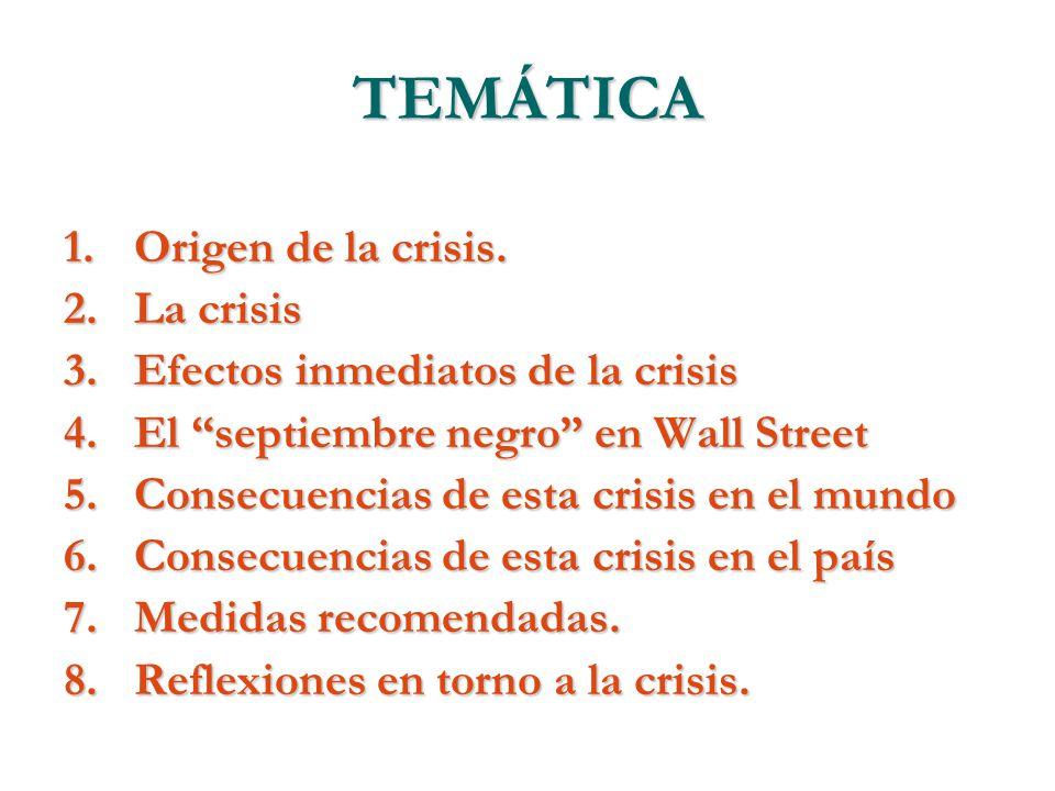 TEMÁTICA Origen de la crisis. La crisis