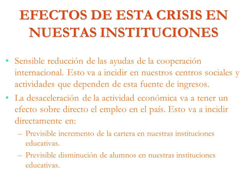 EFECTOS DE ESTA CRISIS EN NUESTAS INSTITUCIONES
