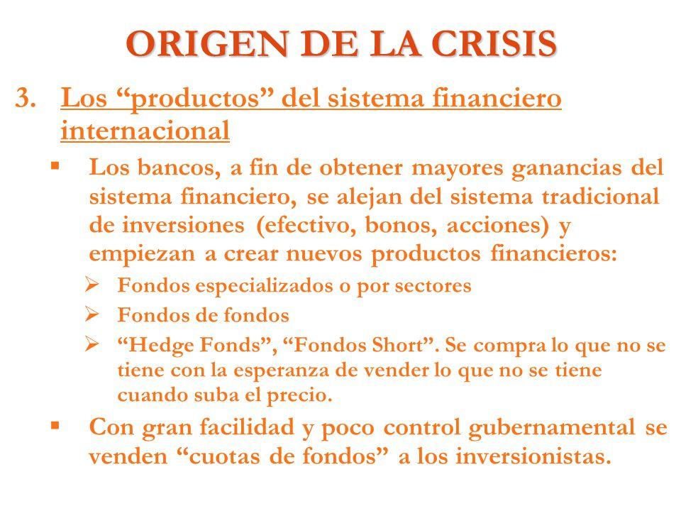 ORIGEN DE LA CRISIS Los productos del sistema financiero internacional.