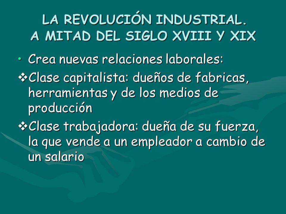 LA REVOLUCIÓN INDUSTRIAL. A MITAD DEL SIGLO XVIII Y XIX