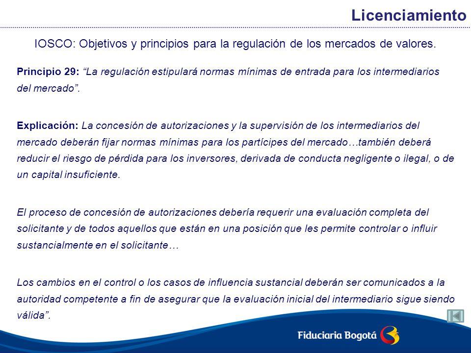 Licenciamiento IOSCO: Objetivos y principios para la regulación de los mercados de valores.