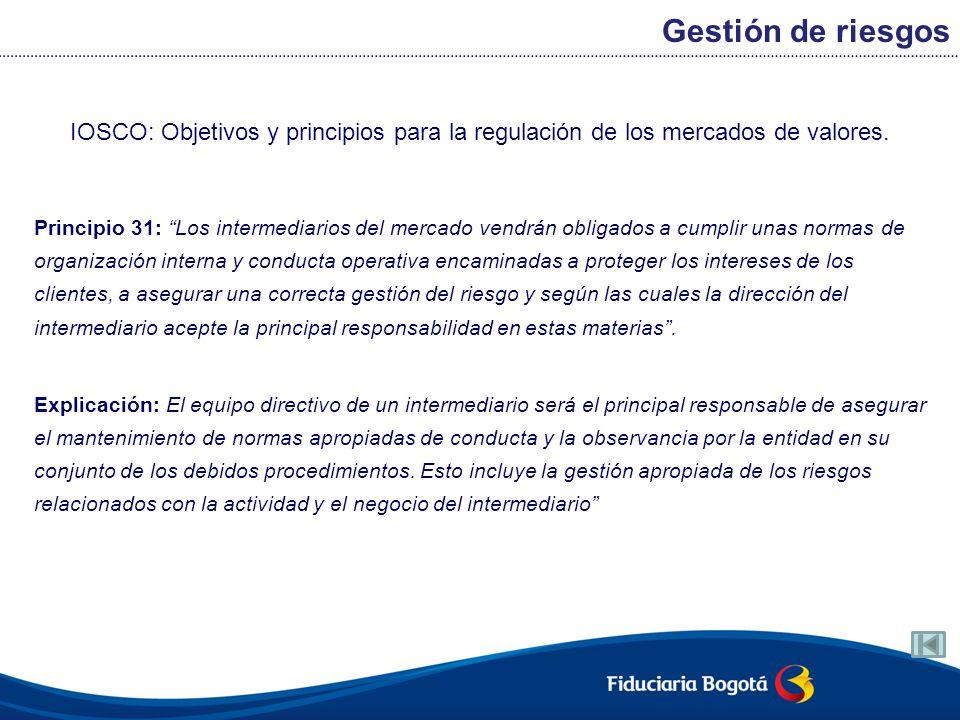 Gestión de riesgos IOSCO: Objetivos y principios para la regulación de los mercados de valores.