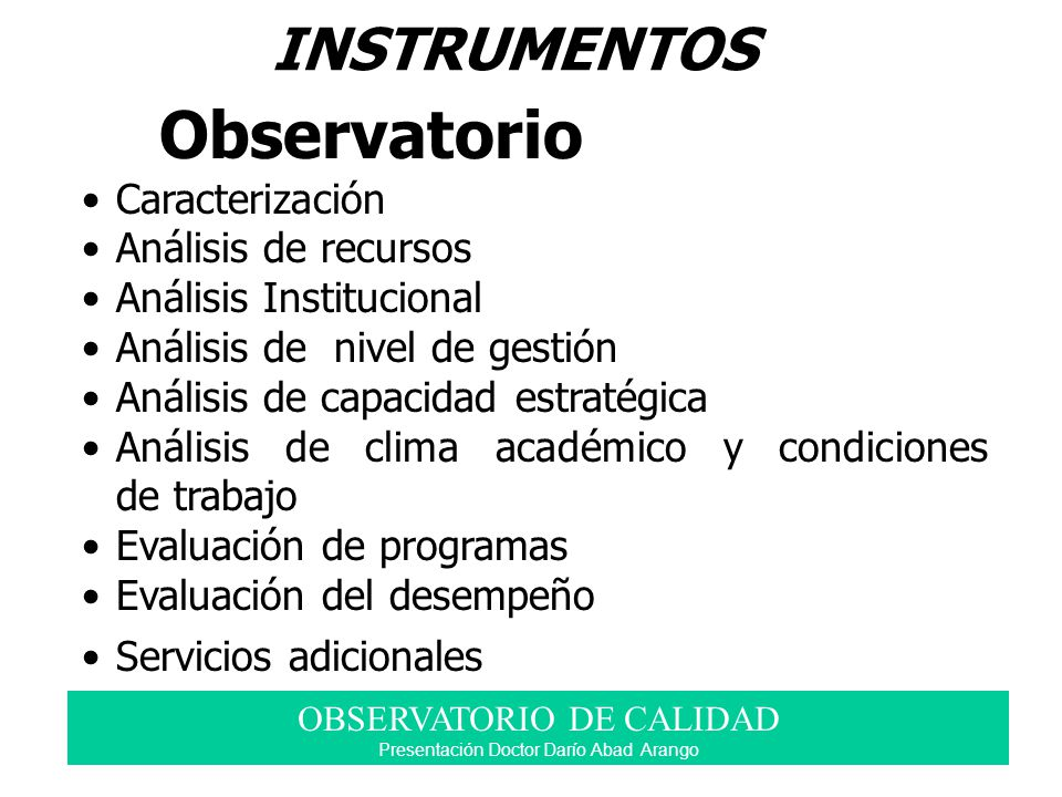 INSTRUMENTOS Observatorio Caracterización Análisis de recursos