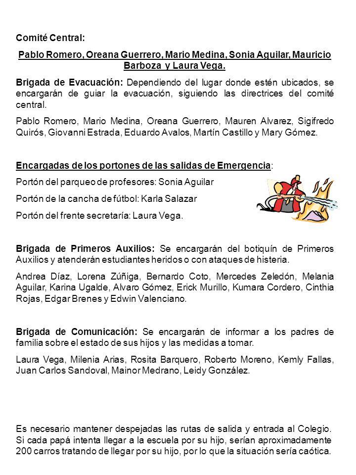Comité Central: Pablo Romero, Oreana Guerrero, Mario Medina, Sonia Aguilar, Mauricio Barboza y Laura Vega.