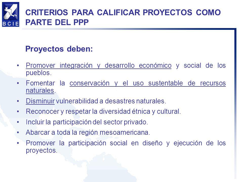 CRITERIOS PARA CALIFICAR PROYECTOS COMO PARTE DEL PPP
