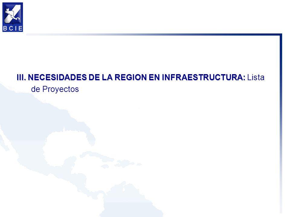 III. NECESIDADES DE LA REGION EN INFRAESTRUCTURA: Lista de Proyectos