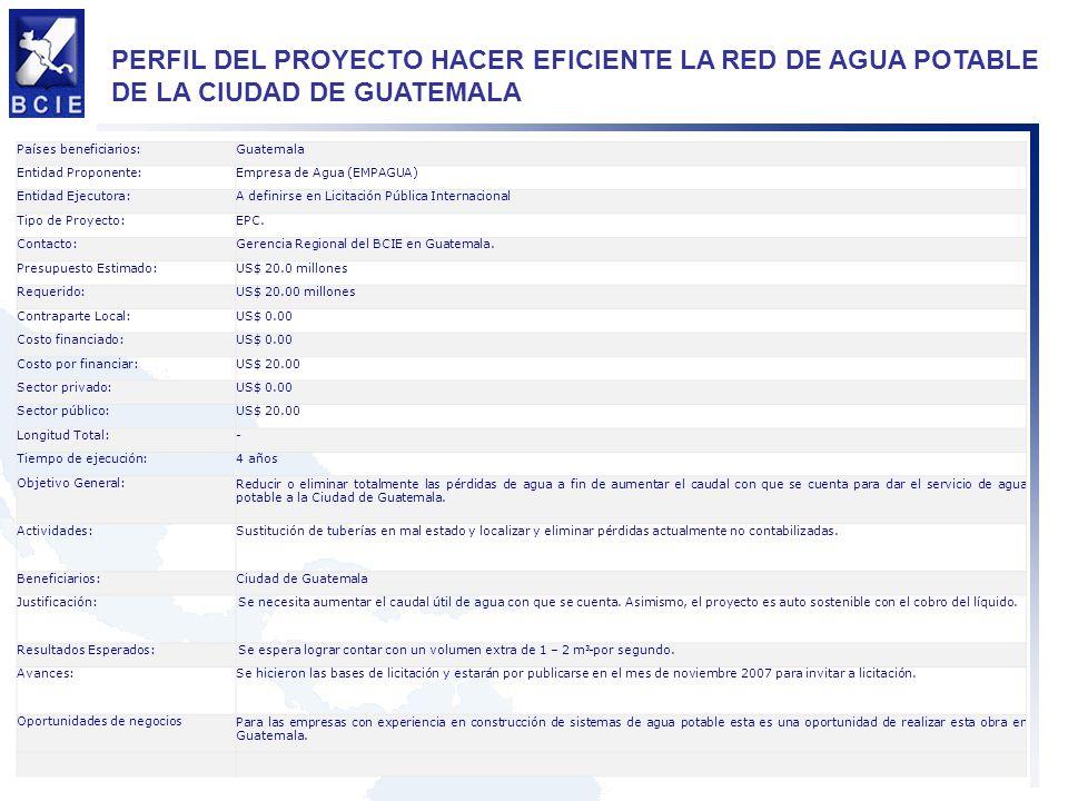 PERFIL DEL PROYECTO HACER EFICIENTE LA RED DE AGUA POTABLE DE LA CIUDAD DE GUATEMALA