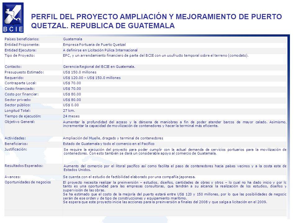 PERFIL DEL PROYECTO AMPLIACIÓN Y MEJORAMIENTO DE PUERTO QUETZAL