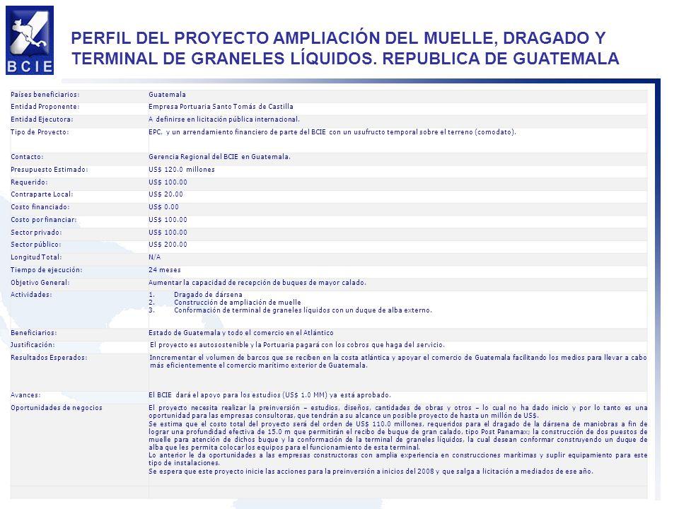 PERFIL DEL PROYECTO AMPLIACIÓN DEL MUELLE, DRAGADO Y TERMINAL DE GRANELES LÍQUIDOS. REPUBLICA DE GUATEMALA