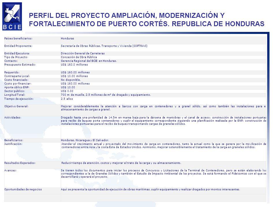 PERFIL DEL PROYECTO AMPLIACIÓN, MODERNIZACIÓN Y FORTALECIMIENTO DE PUERTO CORTÉS. REPUBLICA DE HONDURAS